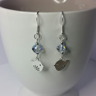 Clear Blue Czech Glass Crystal And Tibetan Silver Bird Sterling Silver Earrings