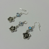 Clear Blue Czech Glass Crystal & Flower Sterling Silver Earrings & Pendant Set