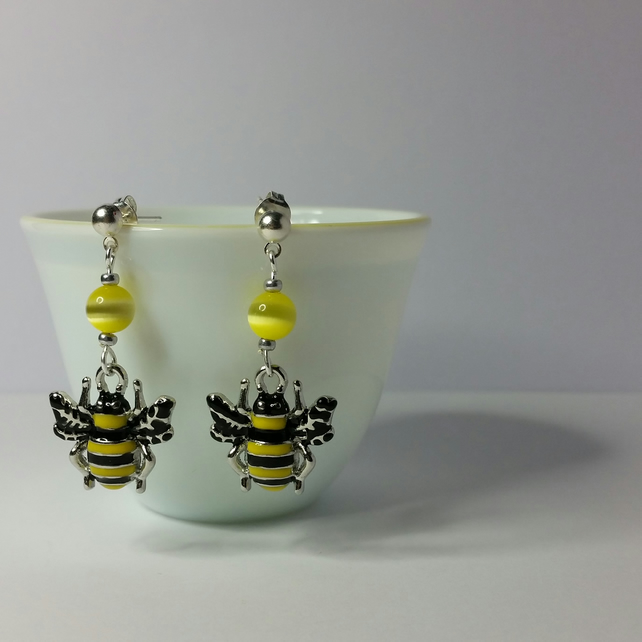 Enameled Bumblebee and Yellow Cat Eye Bead Earrings
