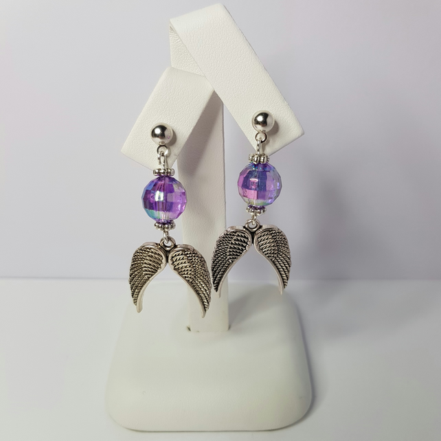 Angel Wings with Purple AB Acrylic Beads Earrings