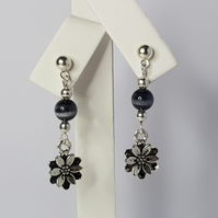 Flower Charm With Black Cat Eye Bead Earrings