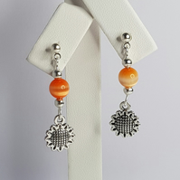 Sunflower With Orange Cat Eye Bead Earrings