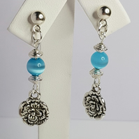 Flower Charm With Blue Cat Eye Bead Earrings