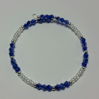 Indigo AB Crystal and Clear Glass Bead Memory Wire Bracelet