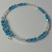 Blue AB Crystal and Clear Glass Bead Memory Wire Bracelet