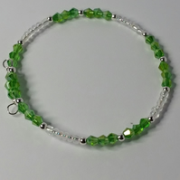 Green AB Crystal and Clear Glass Bead Memory Wire Bracelet