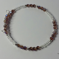 Pink AB Crystal and Clear Glass Bead Memory Wire Bracelet