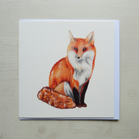 Mr Fox Hand Painted Greeting Card. Fox Illustration