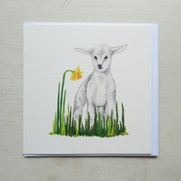 Little Lamb Hand Painted Greeting Card. Lamb Illustration