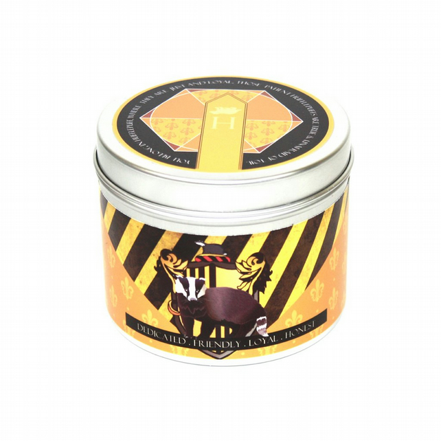 Hogwarts inspired Hufflepuff house scented candle badger gift  basil and lime