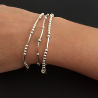 Set of 3 sterling silver noodle tube stretch bracelets