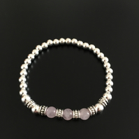 Rose quartz gemstone and sterling silver beaded stretch bracelet