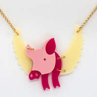 flying pig laser cut acrylic necklace perspex jewellery