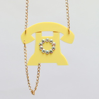 retro telephone acrylic necklace laser cut perspex jewellery