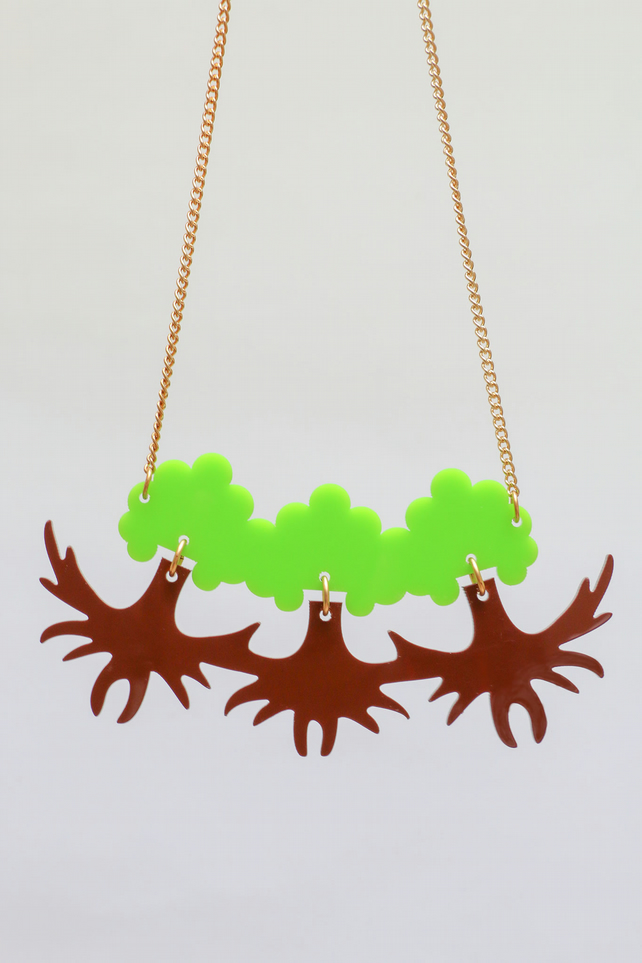 trees necklace laser cut acrylic jewellery