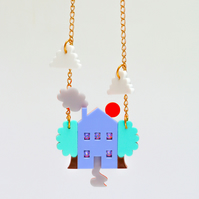Acrylic jewellery perspex necklace laser cut house