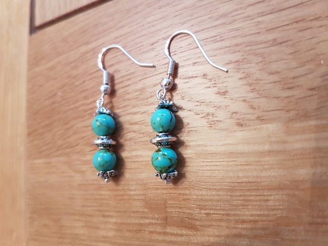 Semi precious Turquoise earrings, Sterling silver