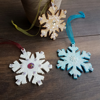Handcrafted snowflake Christmas hanging decorations, set of 3 white, gold, blue