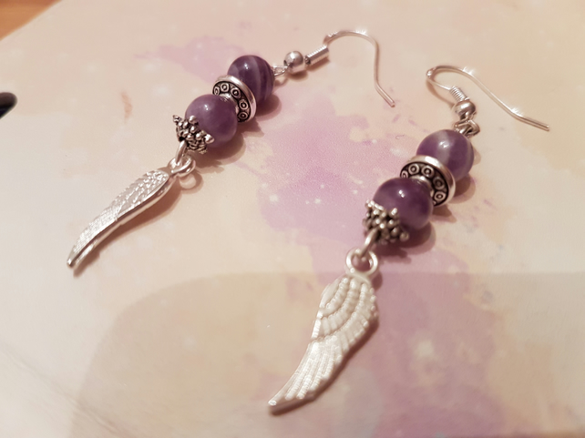 Sage chevron and amethyst Angel wing earrings, Sterling silver