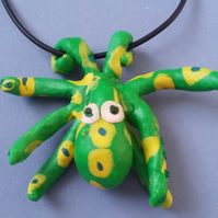 Octopus Necklace - Green - Polymer Clay Jewellery - Handmade - Unique - Fun