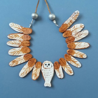 Owl Necklace - Barn Owl - Polymer Clay Jewellery - Handmade - OOAK - Unique