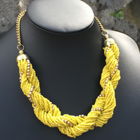 African Necklace,Multi strand Twisted Braided Statement Necklace,Beaded necklace