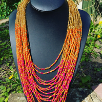 Necklace for women, Beaded Necklace, Glass Seed Bead Multilayered Long Necklace