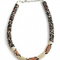 Crochet Bead Rope Necklace python snake pattern - Tribal Necklace