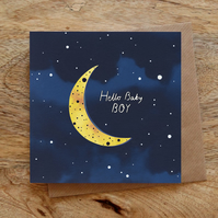 New Baby Boy Moon Illustrated Greeting Card