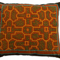 Handmade Shipibo 'fire kene' Cushion from the Amazon, Peru