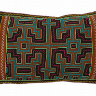 Handmade Shipibo 'aqua' Cushion from the Amazon, Peru