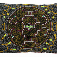 Large Handmade Shipibo 'cosmic heart' Cushion from the Amazon, Peru