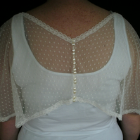 Bridal Capelet this is Doris a delicately dotted tulle in IVORY