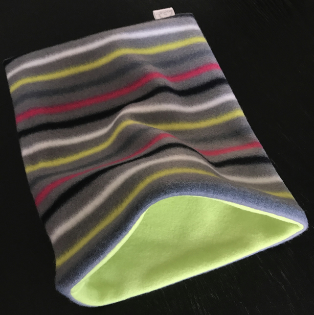 Striped snuggle sack for hedgehogs and guinea pigs. Grey, lime and pink fleece