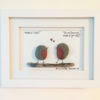 "Handmade Cornish pebble art picture ""My Darling"""