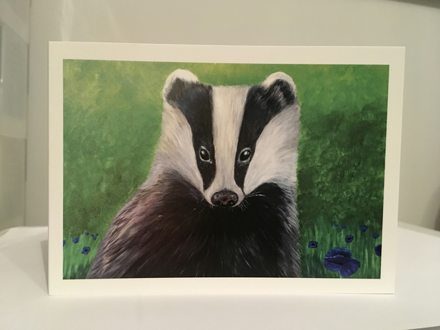 'Bewitching Badger' blank notelet