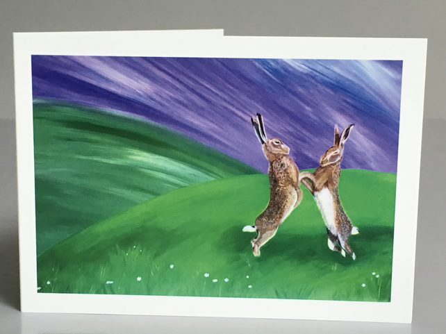 'Mad March Hares' blank notelet