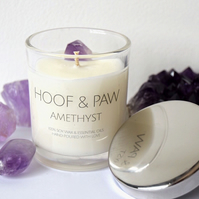 Amethyst Crystal Candle, 100% Natural Travel Candle with Essential Oils