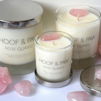 Rose Quartz Crystal Candle with Soy Wax and Essential Oils- Medium