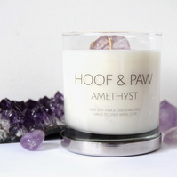 Amethyst Crystal Candle, Relaxation Candle with Soy Wax & Essential Oils- Large