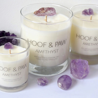Amethyst Crystal Candle, Relaxation Candle with Soy Wax & Essential Oils- Medium