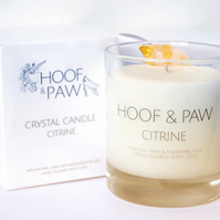 Citrine Crystal Candle, Uplifting & Happiness with Soy Wax & Essential Oils
