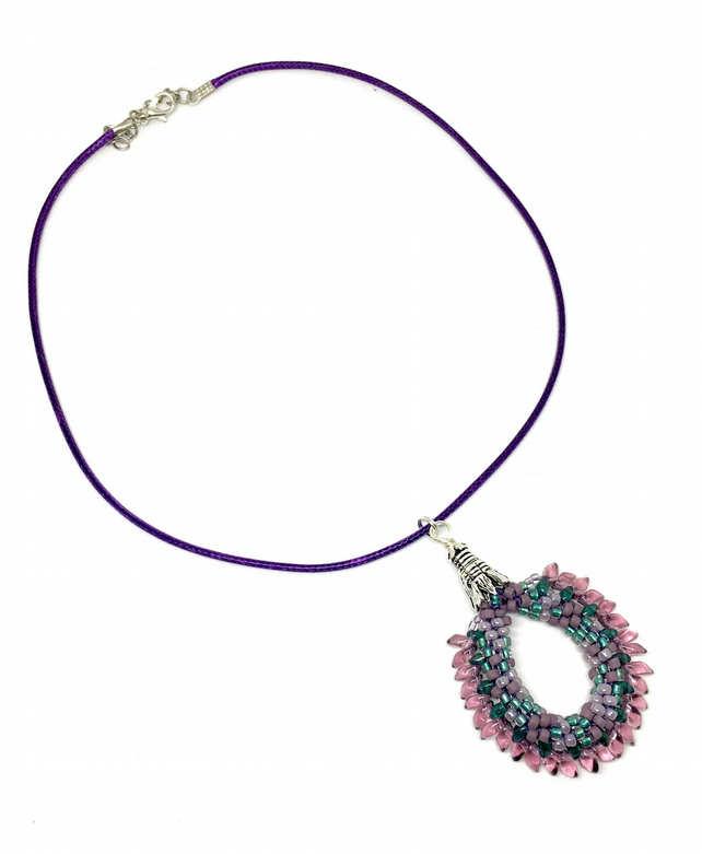 "Purple and Turquoise ""Purple People Eater"" Beaded Dragon Neckalce"