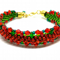 Reversible, Two Toned, Christmas, Festive, Red and Green, Beaded Bracelet