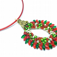 Christmas, Dragon, Wreath, Necklace, Festvial, Seasonal, Christmas, Jewellery