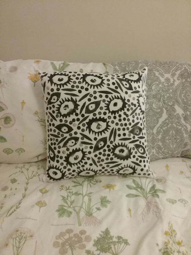 Hand Printed Black & White Cushion Cover