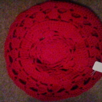 Croched beret in machine washable merino wool