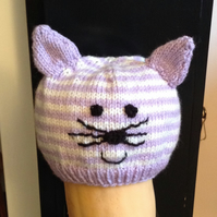 Cute Kitty, hand knitted baby hat