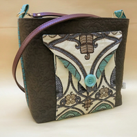 Art Nouveau shoulder bag, cross body bag, women's handbag.