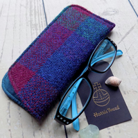 Harris Tweed eyeglasses case in dark teal, burgundy and deep purple check weave